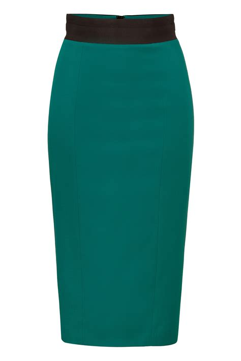 l wren emerald green woolblend pencil skirt with