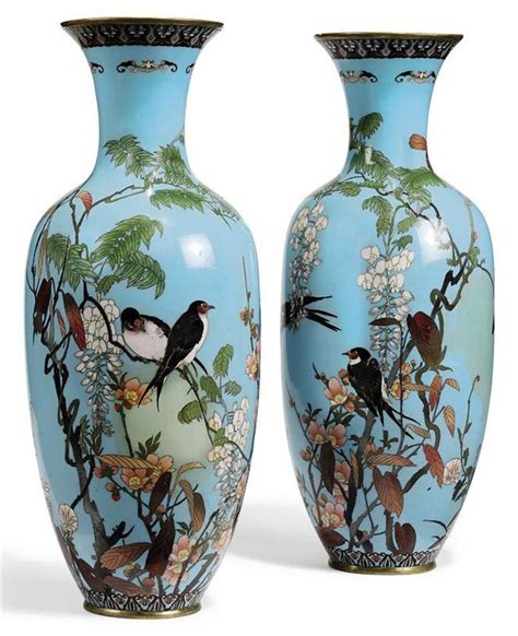 Japanese Vases by A Pair Of Japanese Cloisonne Vases Meiji Period Late