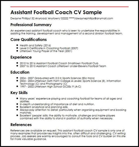Football Coach Resume by Assistant Football Coach Cv Sle Myperfectcv