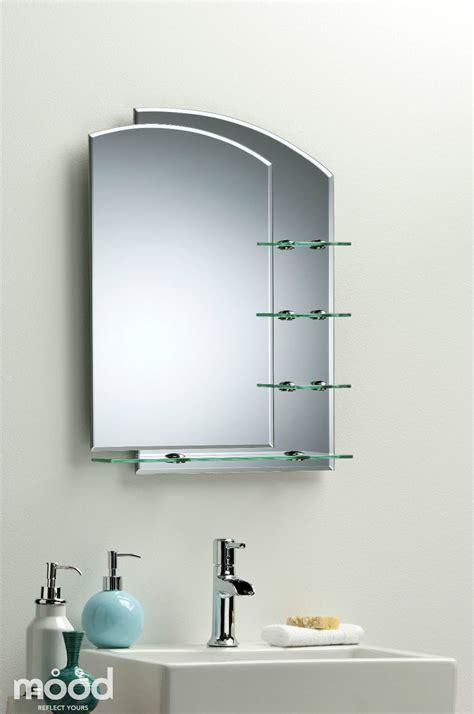 Bathroom Mirror Modern Stylish With Shelves Frameless Wall Bathroom Mirror With Shelves