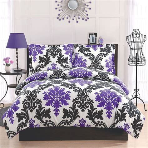 purple damask bedding black purple damask queen comforter set teen modern