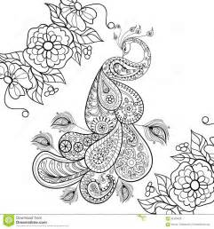 Zentangle Peacock Totem In Flowersfor Adult Anti Stress Coloring Page  sketch template