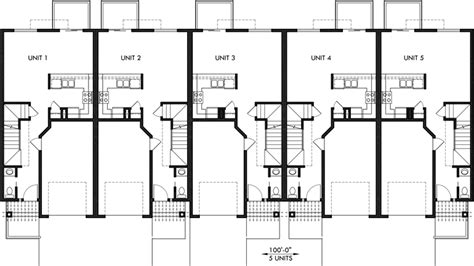 Townhouse Floor Plans With Garage | townhouse plans row house plans with garage sloping lot