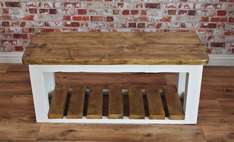 rustic shoe storage bench rustic shoe storage hall bench made from reclaimed wood