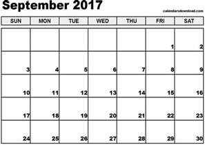 Calendar For September 2017 September 2017 Calendar Weekly Calendar Template