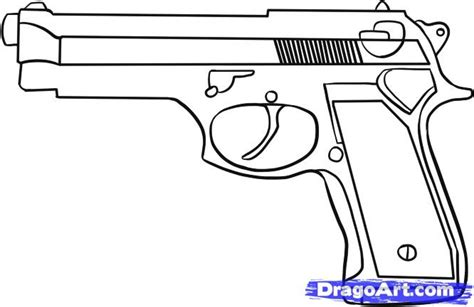 how to draw doodle guns pistol line drawing
