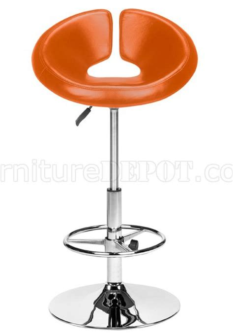 black white or orange leatherette modern bar stool
