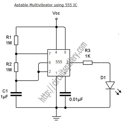 555 integrated circuit astable multivibrator using ne 555 timer ic circuit diagram and working electronics circuits