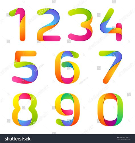 colorful logo design elements vector set colorful numbers set vector design template stock vector