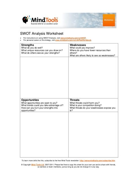swot analysis worksheet template swot analysis worksheet