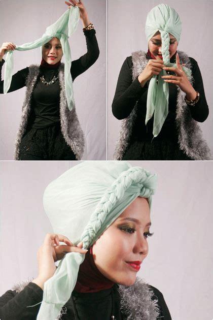 tutorial turban kepang tutorial hijab kreasi turban kepang untuk acara formal