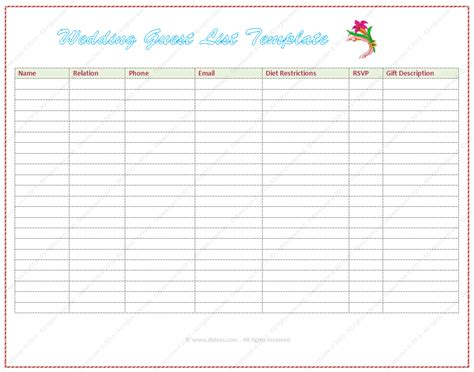 wedding guest list template free wedding guest list template word dotxes