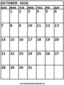 Calendar 2018 October Printable Free Printable Calendar October 2018