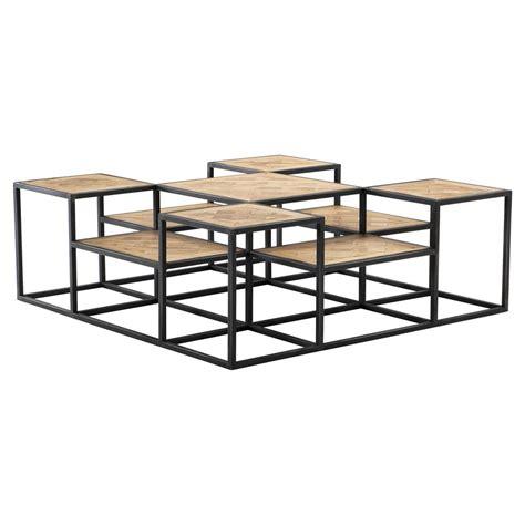 eichholtz bertrand industrial black metal tiered reclaimed oak coffee table