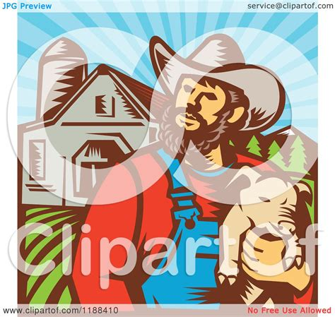 clipart of a retro woodcut clipart of a retro woodcut pig farmer holding a