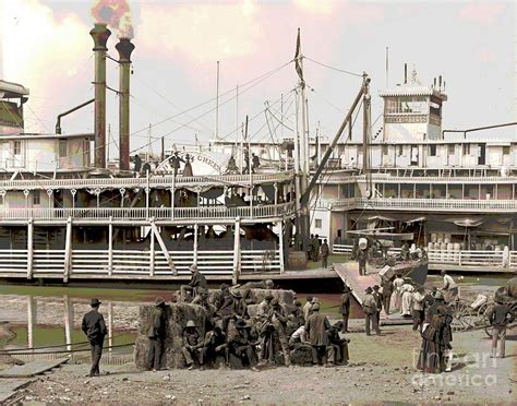 steamboat art steamboat landing 1905 colorized photograph by padre art
