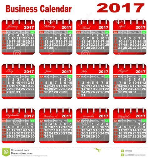 Calendario N Giorni Calendario 2017 Negocio Ilustraci 243 N Vector