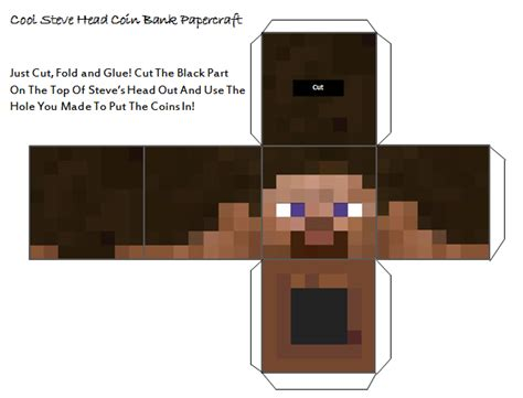 Minecraft Steve Papercraft Template - papercraft minecraft steve coin bank papercraft