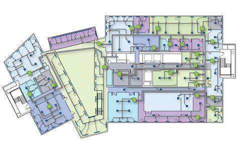 Parking Garage Designs 2d floor plan with duct work zoning
