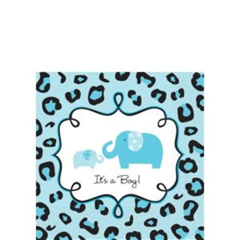Blue Safari Baby Shower by Blue Safari Baby Shower Beverage Napkins 36ct City