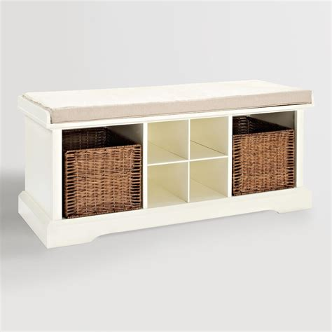 entryway bench and storage white wood emlyn entryway storage bench world market