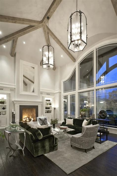 Living Room Lighting High Ceiling 54 Living Rooms With Soaring 2 Story Cathedral Ceilings