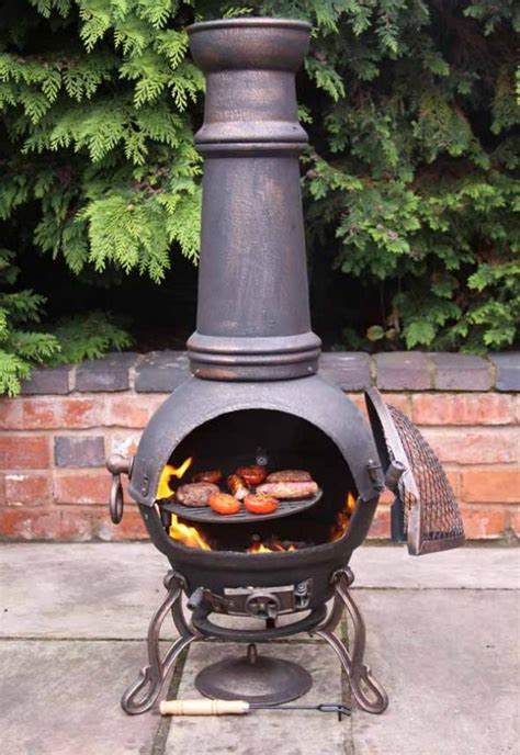 Cast Iron Fireplace Grill by Large Toledo Bronze Cast Iron Chimenea Fireplace With Bbq Grill 163 123 49 Garden4less Uk