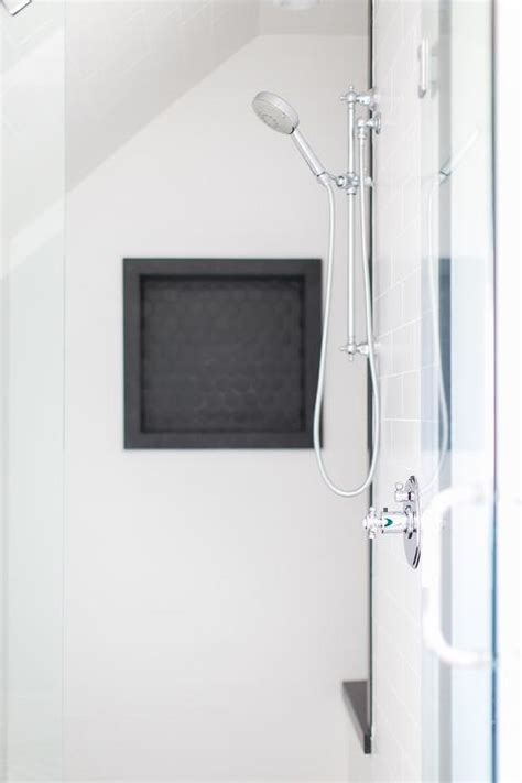 bathroom shower niche black hex tile shower niche contemporary bathroom