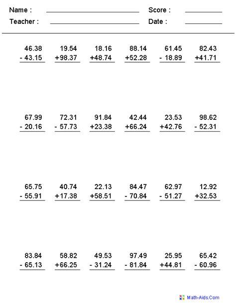 Decimals Worksheets by Decimals Worksheets Dynamically Created Decimal Worksheets