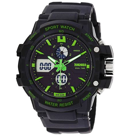 Jam Tangan Sport skmei jam tangan sport pria ad0990 black green