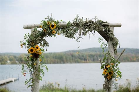 Wedding Arch With Sunflowers by Wooden Wedding Arch With Sunflowers