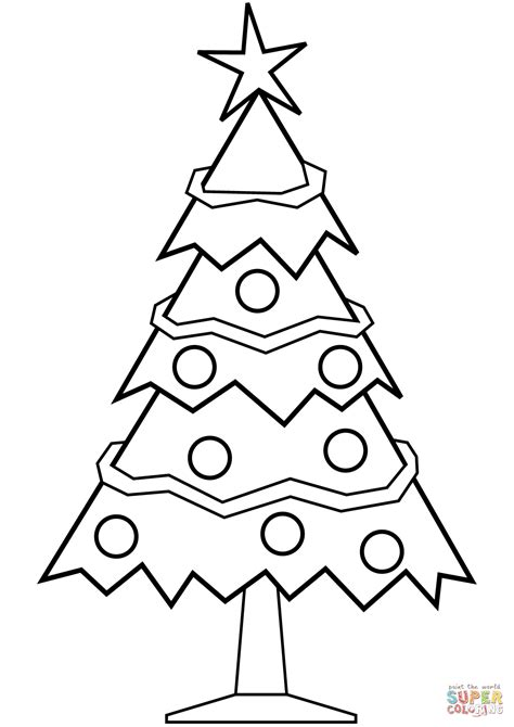simple christmas tree coloring page free printable