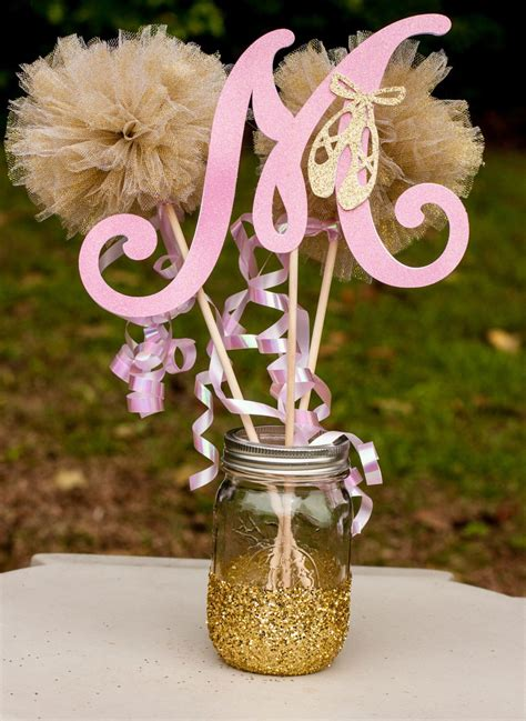 Pink Baby Shower Centerpieces by Ballerina Baby Shower Pink And Gold Baby Centerpiece