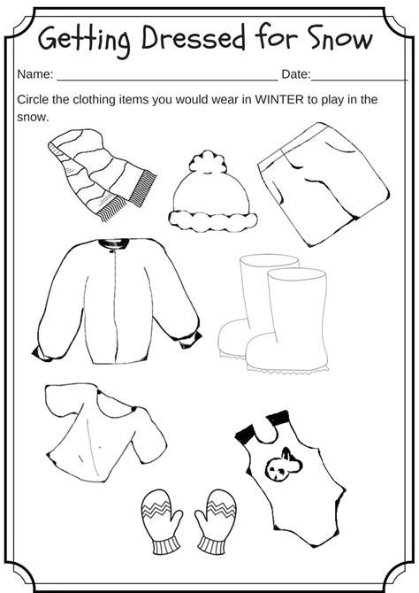 winter weather worksheets for kindergarten winter