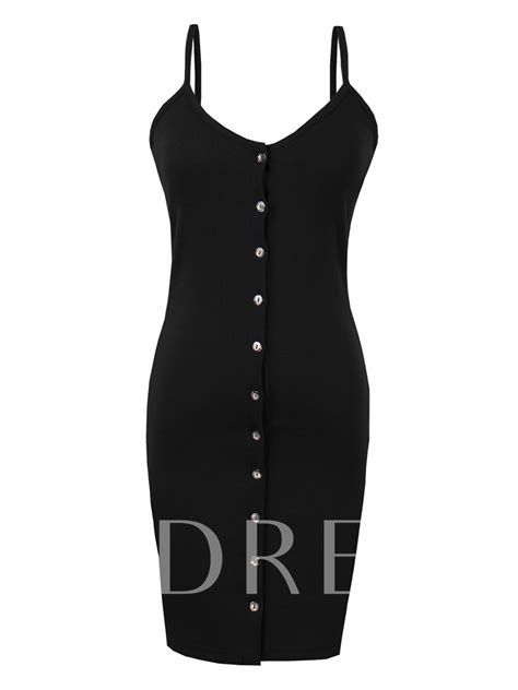 Spaghetti Strap Single-Breasted Women's Bodycon Dress - Tbdress.com