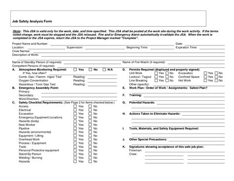 Job Hazard Analysis Template Beepmunk Workload Analysis Excel Template