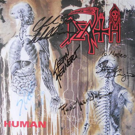 the death of homo death human lp 1991 signed by chuck schuldiner masvidal digiorgio reinert carino