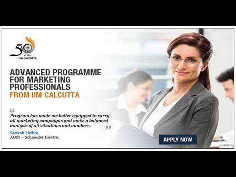 Mba For Working Professionals From Iim Kolkata by Advanced Programme For Marketing Professionals From Iim