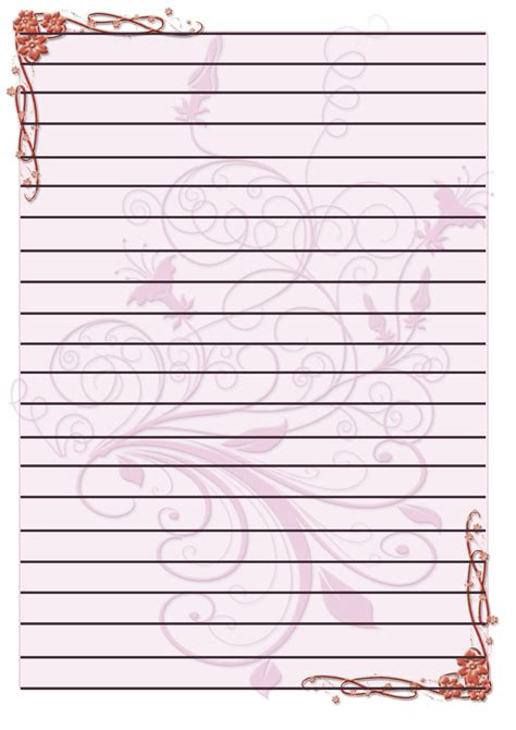 lined paper with plant border 7 best images of printable lined paper stationary free