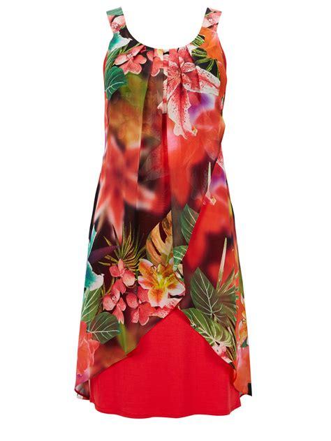 wallis tropical floral chiffon dress in multi