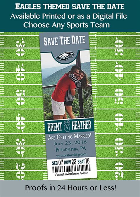 printable eagles tickets philadelphia eagles themed save the date by