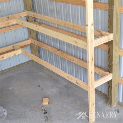 diy corner shelves  garage  pole barn storage