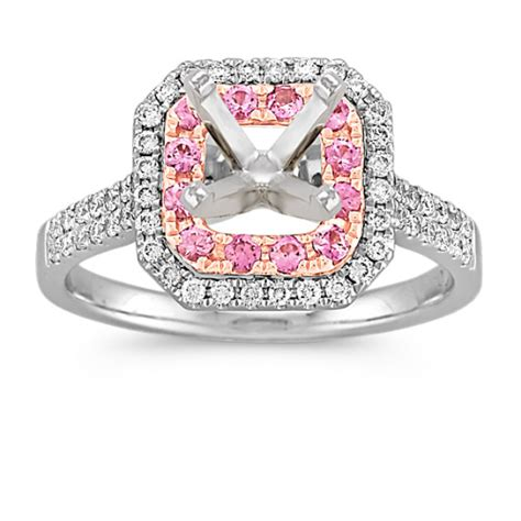 halo pink sapphire and 14k white and gold
