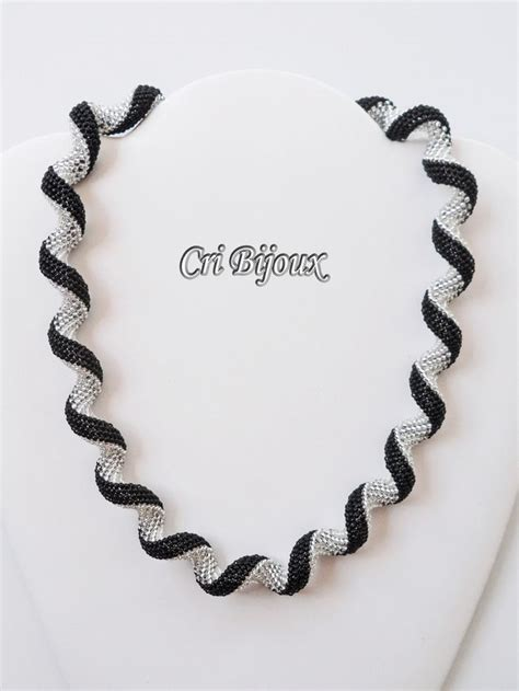 black necklace pattern spiral black necklace handmade with seed beads patterns