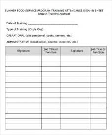 sample training sign in sheet template 13 download
