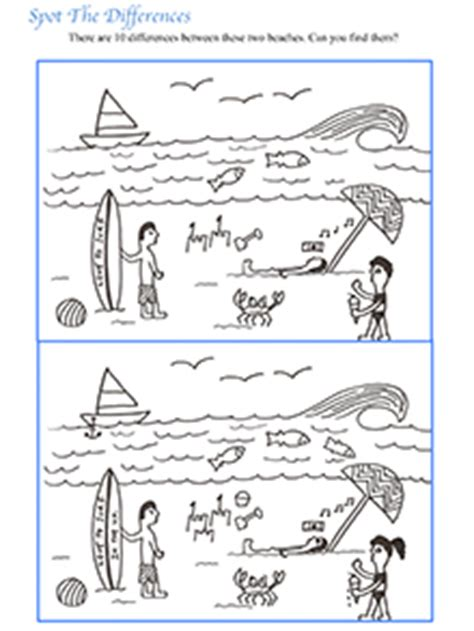 printable spot the difference games for adults spot the difference beach illustration 10 free