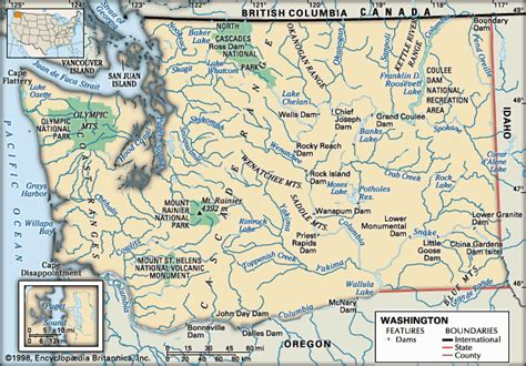 physical map of washington map of united states and canada physical geography