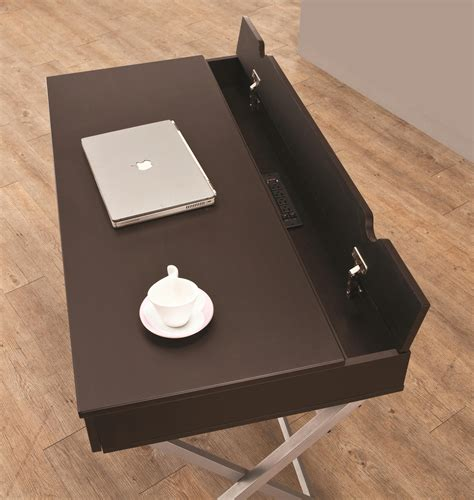 table with outlets connect it desk cappuccino with built in outlet storage compartment