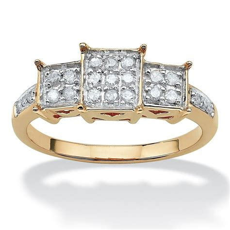 womens  yellow gold diamond promise engagement ring size