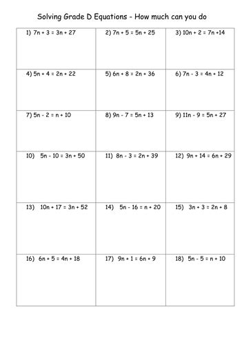 printable worksheets equations with variables on both sides solving equations with variables on both sides worksheet